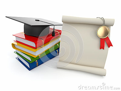 Graduation. Mortarboard, diploma and books.