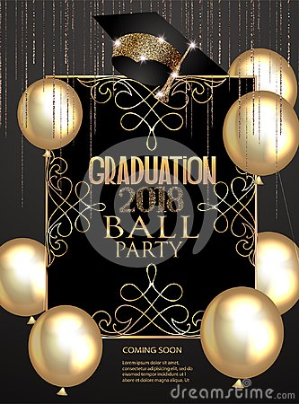 Free Graduation Party Elegant Banner With  Golden Design Elements And Air Balloons. Stock Photos - 119630993