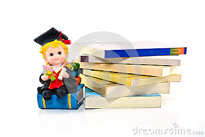 Graduation resin doll and books