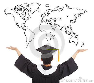 Graduation student open arms to welcome the worldwide job Stock Photo