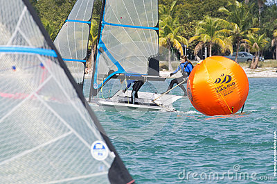 Grael leads around the mark at the 2013 iSAF World Sailing Cup in Miami Editorial Photography