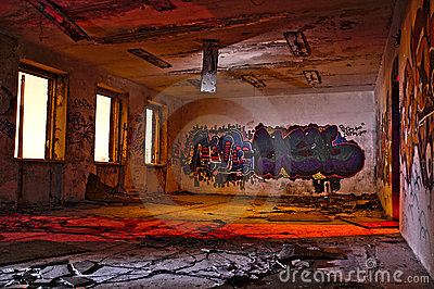 Graffiti in abandoned industrial building