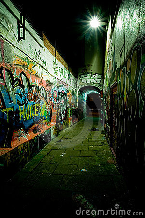 Free Graffiti Alley At Night Royalty Free Stock Photography - 4285717