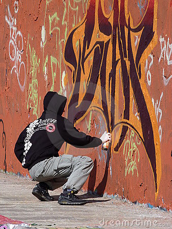 Graffiti Artist Editorial Photo