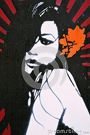 Graffiti Artwork of an Attractive Woman Editorial Photo