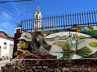 Graffiti and church, Valparaiso Editorial Photo
