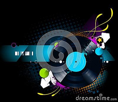 Graffiti image with vinyl disc