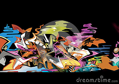 Graffiti isolate on black BG