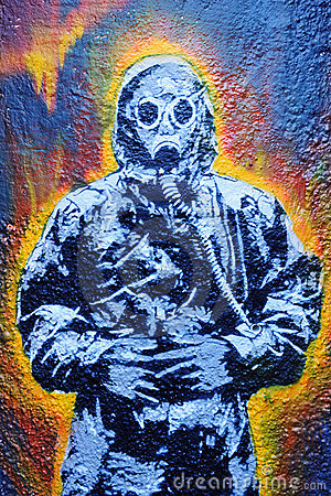 Graffiti of a Man in a Hazmat Suit Editorial Photo