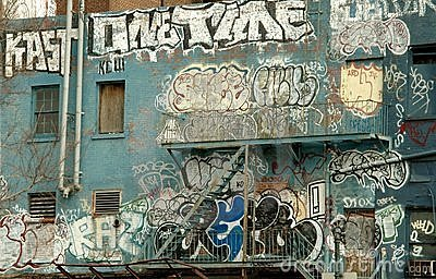 Graffiti on a NYC Building Editorial Stock Image