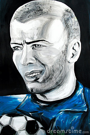 Free Graffiti Portrait Of Zinedine Zidane Stock Image - 45368591
