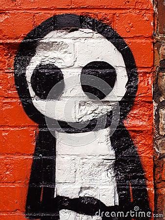 Graffiti Stick Man Editorial Photo