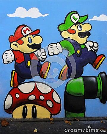 Graffiti van Mario en Luigi van het Spel van Nintendo Redactionele Stock Foto