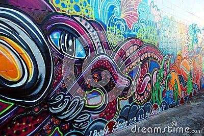 Graffiti wall in Australia Editorial Photography