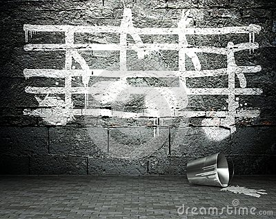 Graffiti Wall With Music Notes Sign, Street Background Stock Photo - Image: 28619830