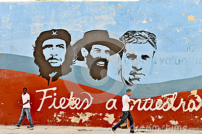 Graffiti and wall paintings representing the Cuban national heroes, in Havana Editorial Image