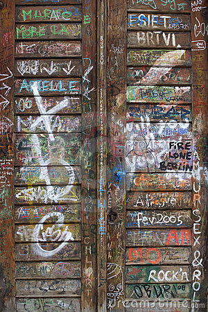 Graffiti wooden door