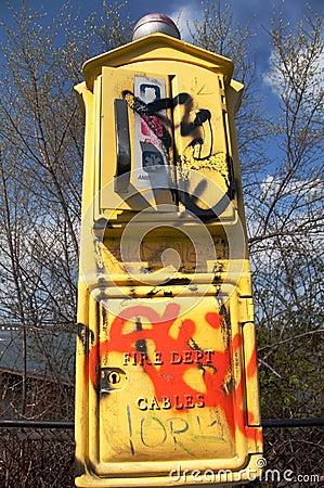 Graffitized Emergency Call Box