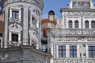 Graffito facade, dresden castle