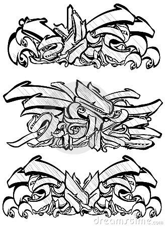 Graffitti sketch in black and white