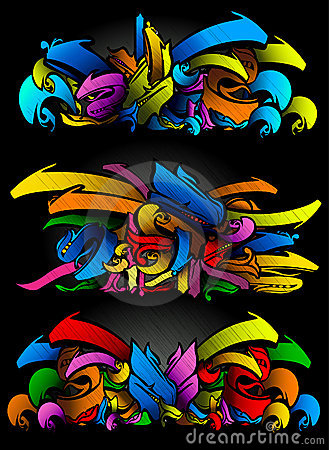 Free Graffitti Sketch Set In Vibrant Colors Royalty Free Stock Images - 15056379