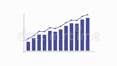Grafiekgrafiek met pijl en punten, videoanimatie stock footage