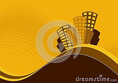 Grafische de gebouwen van de heuveltop