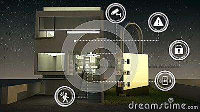 Grafische Ikone der IoT-Sicherheitsinformationen auf intelligentem Haus, intelligente Haushaltsgeräte, Internet von Sachen nacht lizenzfreie abbildung