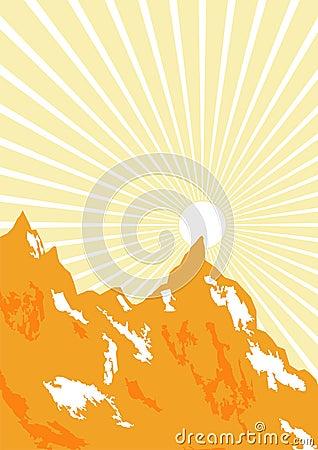 Grafische zonnestraal en bergen