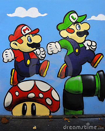 Grafittis de Mario e de Luigi do jogo de Nintendo Foto de Stock Editorial