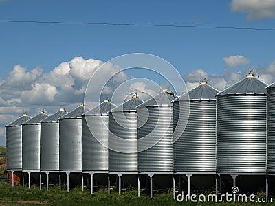 Grain bins.