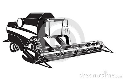 Vector Tractor And Combine Harvester Icons Royalty Free Stock ...