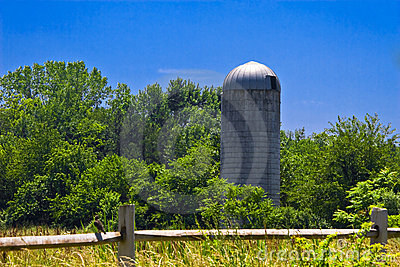 Grain silo in countryside