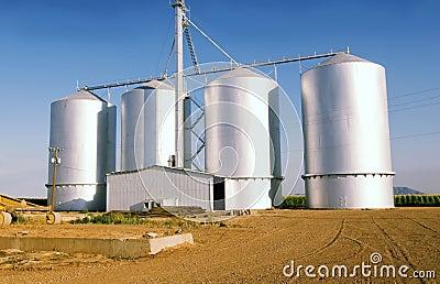 Grain silo on farm in Gilbrt,AZ
