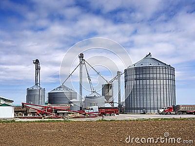 Grain silos on the farm