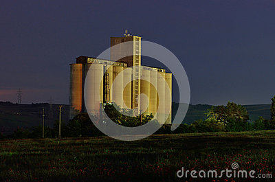 Grain silos by night