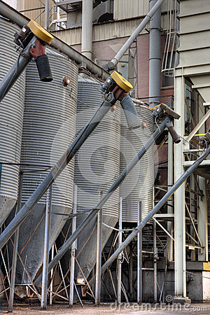 Grain storage bins at industrial elevator
