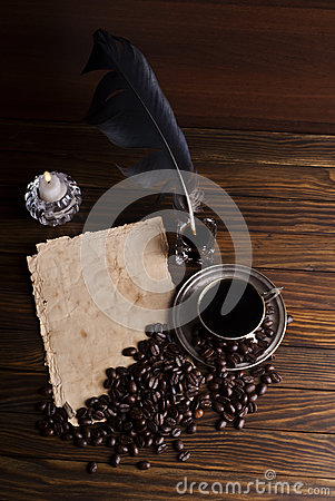 Free Grains And Cup Of Coffee With A Candle Royalty Free Stock Image - 62404556