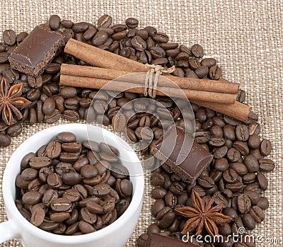 Grains of coffee, chocolate, anise, cinnamon