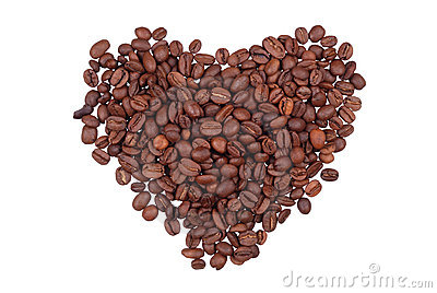 Grains of coffee in the form of heart