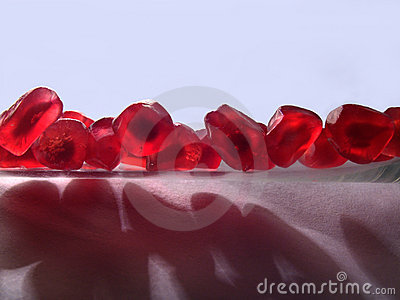 The grains of a pomegranate