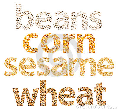 Grains Words Abstract Made Of Different Seeds