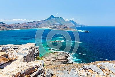 Gramvousa island near Crete, Greece. Balos beach. Magical turquoise waters, lagoons, beaches