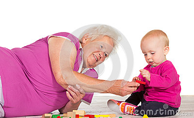 Gran babysitting her small grandchild