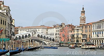 Gran Canal and Rialto bridge Editorial Image