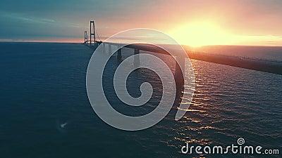 Gran puente danés de la correa en la puesta del sol almacen de video