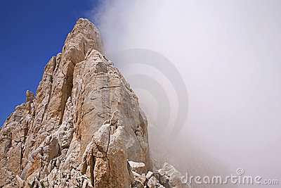 Gran Sasso with fog in italian apennines