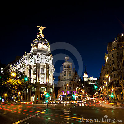 Free Gran Via Street In Madrid, Spain Royalty Free Stock Photography - 21156267