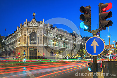 Gran via street in Madrid by night Editorial Photography