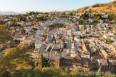 Granada, aerial view of Albaicin. Andalusia, Spain